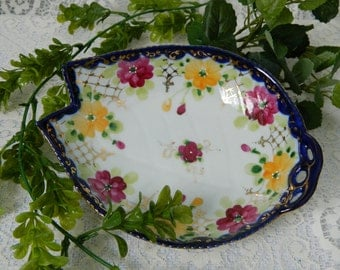 Nippon Floral Dish, Nippon China Candy Dish, Nippon Hand Painted Dish, Leaf Design Dish, Cobalt Blue Dish, Vintage China Dish, 1940s Dish