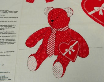 Red Valentine Teddy Bear Sewing Panel Project, Cut and Sew Fabric Panel, Children Kid's Sewing Project, Easy, Beginner, Learn to Sew, Craft