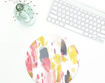 Gold Pattern Mouse Pad, Modern Mousepad, Office Mousepad, Coworker gift, Geometric mousepad, Desk Accessories, Pink mousepad, Christmas gift