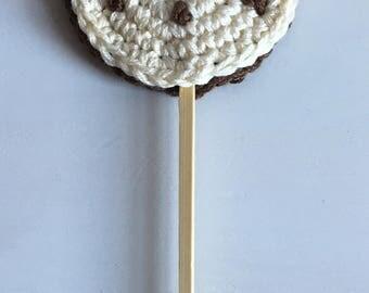 Cream and chocolate crochet lollypop