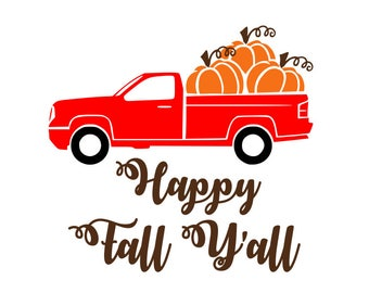 Pumpkin truck svg, happy fall yall svg, fall svg, pumpkin svg, happy harvest svg, thanksgiving svg, farmers market svg, fresh produce svg