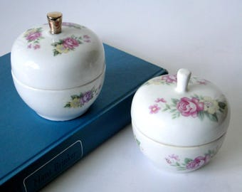 Set of Two, Ceramic, Apple, Trinket Bowls, Floral, Apple, Home Decor, Home and Living