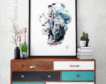 V engine Modern Abstract Contemporary Home wall decor Art print poster Mixed media drawing illustration living room wall art digital print