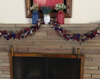 Patriotic Garland, Patriotic Decoration , Festive Garland, Burlap Garland, Decorative Garland, Holiday Garland, Cloth Garland