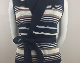 Vintage Sweater Vest with Black, Tan, and White Horizontal Stripes (Front)/Black Ribbed Fabric (Back)/Attached Belt/Size 16 XL