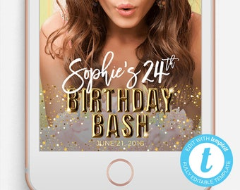 Birthday Snapchat Filter, Birthday Snapchat Geofilter, Editable Snapchat Filter, Templett, Customize Your Name and Age Birthday Bash Filter