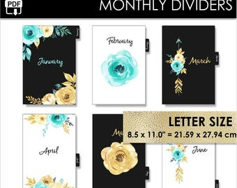 Monthly Letter Size Planner Dividers Happy Planner Big Circa Letter Inserts 12 Month Tabs Black Mint Gold Pdf PRINTABLE