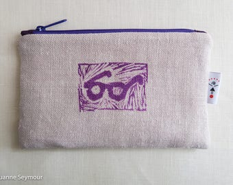 Linen zipper pouch, linen makeup bag, block printed clutch, up cycled linen pouch, linen project bag