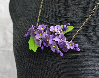 violet jewelry purple necklace lilac daughter gift mom rustic pendant flower statement necklace woodland jewelry original necklace FJ57