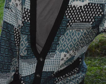 Vintage 90s Compagnie Internationale Express Patterned Blue White and Black Cardigan Sweater