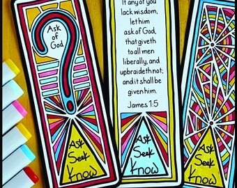 Coloring Page, Bookmark, Ask, Seek, Know, James 1:5