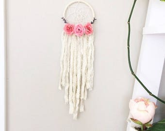 Mini white pink flower dream catcher, small floral dreamcatcher, nursery boho baby shower custom dream catcher, dreamcatcher, dream catcher