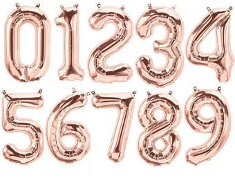 "ROSE GOLD 16"" Number Balloons - Rose Gold Number Balloons - Birthday Balloons - Age Balloons - Birthday Party - Anniversary - Photo Prop"