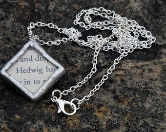Harry Potter Upcycled Book Pages Solder and Glass Necklace - Hedwig/Gryffindor