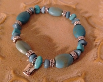 CHAPS Turquoise and Silver Stretch Bracelet: