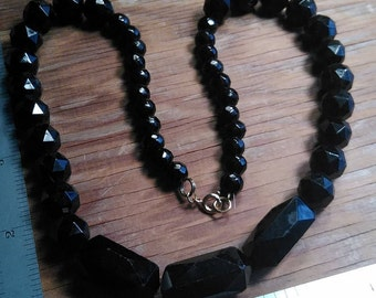 Vintage, Jet,  Black, Graduated, Glass, Beaded, Necklace. Gently Used. Lot O