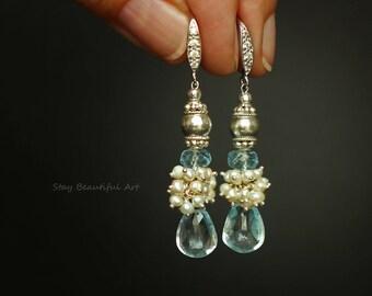 Blue Topaz Earrings Blue Earrings Topaz Earrings Birthstone Earrings Silver Earrings Something Blue Drop Earrings Gemstone Earrings Dainty