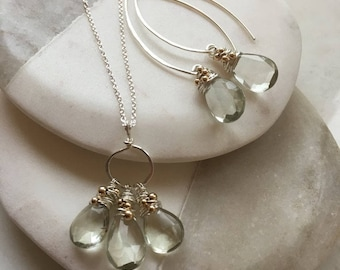 Natural Green Amethyst Hammered Sterling Silver Trio Gift Set