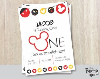 Mickey Mouse Birthday Invitation - Printable - Mickey Mouse Clubhouse Birthday Invitation - Mickey Mouse Invitation – One Year 1 - Custom