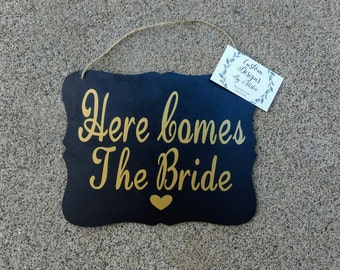 Here Comes The Bride Custom Wedding Sign, You Pick The Color & Font! Ring Bearer Sign, Flower Girl Sign