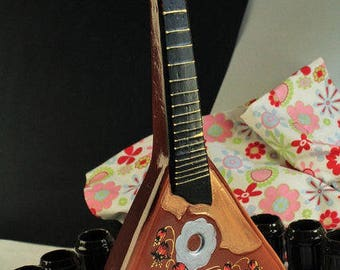 Russian Balalaika Decanter with Stemwares, Guitar Carafe for Drinking, Gift idea for kitchen and home decor. Art decanter and 6 shot glasses
