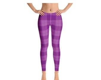 Womens Leggings, Plaid Leggings, Gingham Leggings, Womens Adult Yoga Pants, Plaid Clothing, Polyester Spandex Leggings XS S M L XL Size