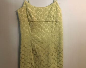 Lime Green 90's Floral Embroidered Dress