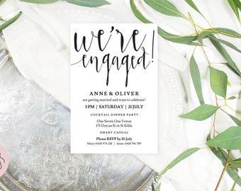 Engagement invitation, We're engaged, Printable engagement invites, Black and white invitations, Engagement party invitations, Editable PDF
