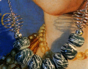 Unique ceramic bead necklace