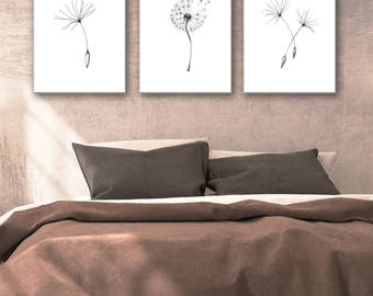 Black Dandelion print, dandelion painting, Dandelion flower wall art print set of 3 flowers art, bedroom wall decor, dandelion printable