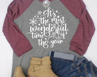 The Most Wonderful Time Of The Year // Cute Christmas Shirt // Christmas Raglan // Christmas Shirt // Christmas Top