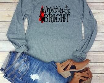 Merry and Bright Shirt // Long Sleeve //  Plaid Christmas Shirt // Buffalo Paid // Lumber Jack Plaid // Plaid Distressed Christmas Shirt