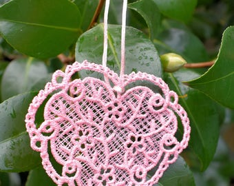 Dainty Lace Heart Ornament