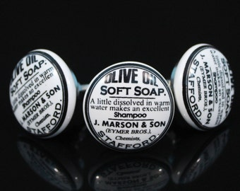 Olive oil soap printed ceramic knobs Handpainted poignées de meubles Möbelknopf Dresser pomelli drawer Boutons -Price is of 1 knob (OHK072)