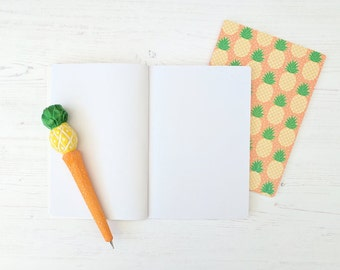Pineapple Gift - Pineapple Stationery Set - A5 Notebook and Pen - Tropical Notebook - Pineapple Notebook - Cute Stationery - Gift for Her