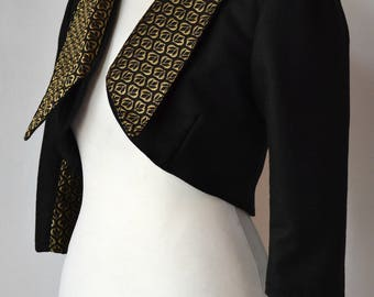 Elegant Regency Style Bolero Jacket with Falling Collar, Gold Indian Brocade & Black Melton Wool