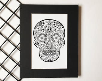 Sugar Skull Art Print, Wall Art Decor, Day of the Dead Skull, Mexican Skull, Floral Skull Art Print, Dia de los muertos, Calavaras de Azucar