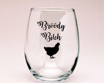 Chicken Wine Glass, Chicken Lover Gift, Chicken Decor, Funny Wine Glass, Funny Chicken, Farmhouse Decor, Crazy Chicken Lady, Broody Chicken