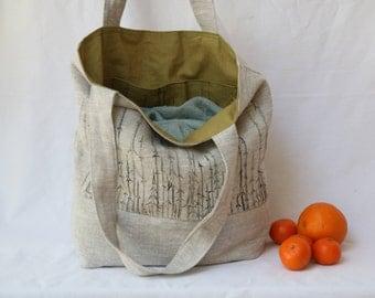 Linen bag * Linen Tote bag * Scandinavian design * Shopping bag * Green bag * Lined linen bag * Kvila  * Reversible bag * Original design