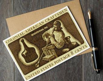 Glassblower birthday card, glassmaker gift, colonial craftsmen stamp, glassblowing art, blown glass art prints, vintage art print sets