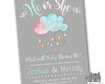 He or She Gender Reveal Invitation, Gender Reveal Party invite, Gender Reveal Invitation Printable Download or Printed Cards, Pink or Blue