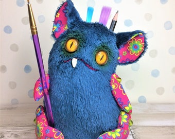 Desk Monster Paperweight, Pencil holder, Pin Cushion, Cute Fabric Monster, Fantasy Creature, OOAK, Art Doll