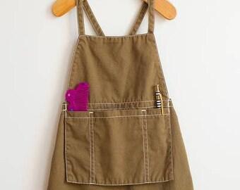 Brand New Girls Gymboree Khaki Apron Style Dress Size 3/4