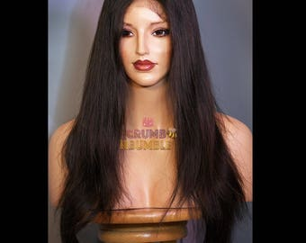 """14""""-Natural """"Scalp"""" Silk Top, Full Swiss Lace Wig-100% Russian Human Hair! Length:14 inches."""