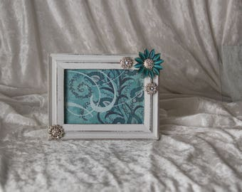 Turquoise and Rhinestoe Picture Frame