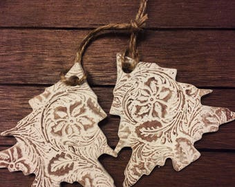 Rustic Tree Christmas Ornament - Set of two ornaments - Clay Tree Ornament