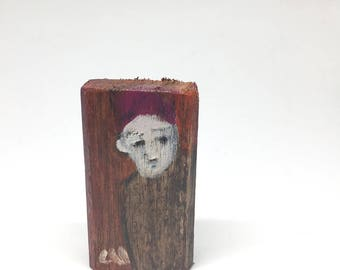 Very small painting on wood, decorative gift - red haired character