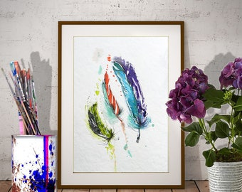 Feather watercolor Original fine art painting in aquarelle Three feather wall art in Blue-Red-Turquoise, Vertical painting Feather painting