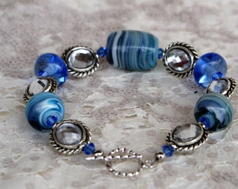 Blue and White Swirled Lampwork Beaded Bracelet with Swarovski Crystals