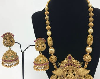 Temple Jewelry Set - Lakshmi Jewelry Set - Temple Earrings - Indian Jewelry - Indian Bridal Jewelry - Jhumki Earrings - Bollywood Jewelry -